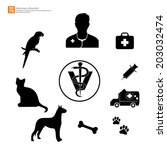 new silhouette veterinary with... | Shutterstock .eps vector #203032474
