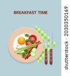 scrambled eggs  bacon  green... | Shutterstock .eps vector #2030350169