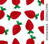red fresh strawberries pattern. ...   Shutterstock .eps vector #2030411900