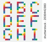 rainbow alphabet from colorful...   Shutterstock .eps vector #2030442383