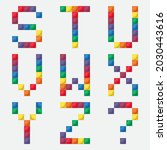 rainbow alphabet from colorful...   Shutterstock .eps vector #2030443616