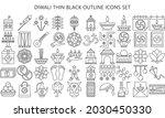 diwali thin black outline icon...