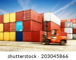 container terminal under blue... | Shutterstock . vector #203045866