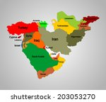 middle east vector map set of... | Shutterstock .eps vector #203053270