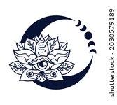 half moon and lotus flower... | Shutterstock .eps vector #2030579189