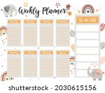 weekly planner page template ... | Shutterstock .eps vector #2030615156