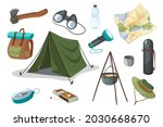 travel and hiking equipment...   Shutterstock .eps vector #2030668670