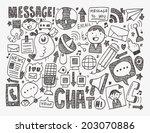doodle communication background | Shutterstock .eps vector #203070886
