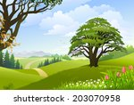 a pathway going through lush... | Shutterstock .eps vector #203070958