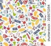 various food on white... | Shutterstock .eps vector #203071354