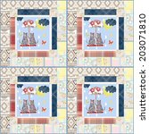 patchwork for kids with... | Shutterstock . vector #203071810