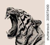 retro mosaic style portrait of... | Shutterstock .eps vector #203073430