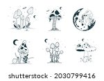 mystical mushrooms with moon...   Shutterstock .eps vector #2030799416