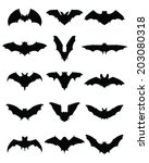 black silhouettes of bats ... | Shutterstock .eps vector #203080318