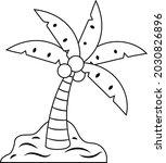 coconut tree coloring vector...   Shutterstock .eps vector #2030826896