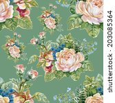 floral colorful roses flowers... | Shutterstock . vector #203085364
