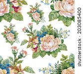 floral colorful roses flowers... | Shutterstock . vector #203085400