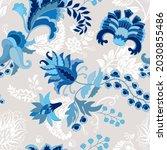 blue paisley seamless pattern.... | Shutterstock . vector #2030855486