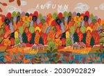 autumn landscape and orange... | Shutterstock .eps vector #2030902829