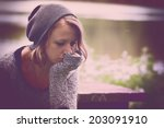 Small photo of Woman feeling so alone