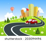 city surrounded by nature... | Shutterstock . vector #203094496