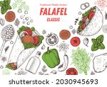 falafel cooking and ingredients ... | Shutterstock .eps vector #2030945693