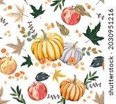autumn pumpkins  apples  maple... | Shutterstock .eps vector #2030951216