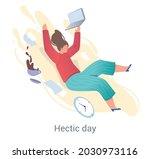 busy employee concept. woman... | Shutterstock .eps vector #2030973116