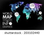 polygonal world map card....   Shutterstock . vector #203102440