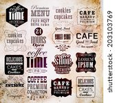 retro coffee  labels and... | Shutterstock . vector #203103769