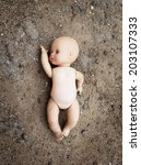 abandoned dirty toy doll  | Shutterstock . vector #203107333