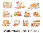 set picnic baskets and hampers... | Shutterstock .eps vector #2031148013