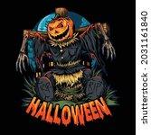 halloween pumpkin scarecrow in...   Shutterstock .eps vector #2031161840