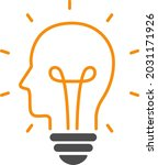 human head and light bulb icon   Shutterstock .eps vector #2031171926
