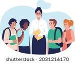 teacher with students 2d vector ...   Shutterstock .eps vector #2031216170
