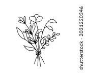 line art bunch of flowers.... | Shutterstock .eps vector #2031220346