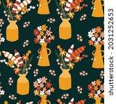 autumn flower vase seamless... | Shutterstock .eps vector #2031252653