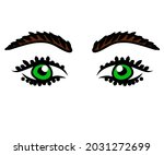 long eyelashes and eyebrows....   Shutterstock .eps vector #2031272699