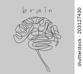 brain doodle hand drawn  | Shutterstock .eps vector #203127430