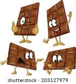chocolate cartoon with hand... | Shutterstock .eps vector #203127979