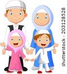 happy muslim family cartoon | Shutterstock .eps vector #203128528