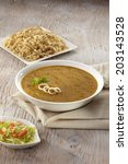 Small photo of Dhansak curry with brown rice, Parsee delicacy, India
