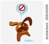 cute cartoon dog with sign icon ... | Shutterstock .eps vector #203144200