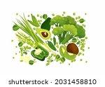 green goods  fresh vegetables ... | Shutterstock .eps vector #2031458810