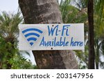 wi fi available here sign | Shutterstock . vector #203147956