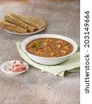 paneer mutter gravy with roti ... | Shutterstock . vector #203149666