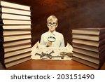 retro style portrait of a boy...   Shutterstock . vector #203151490