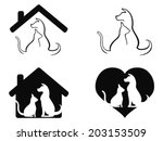 Stock vector dog and cat pet caring symbol 203153509