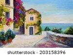 Oil Painting   Santorini  Hous...