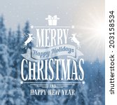 christmas vintage card with the ... | Shutterstock .eps vector #203158534